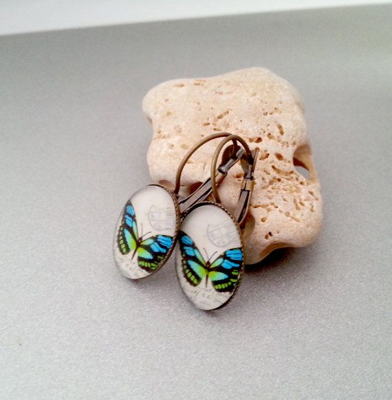 DISCOUNT Butterfly retro earrings simple delicate gift idea for her valentines gift package glass