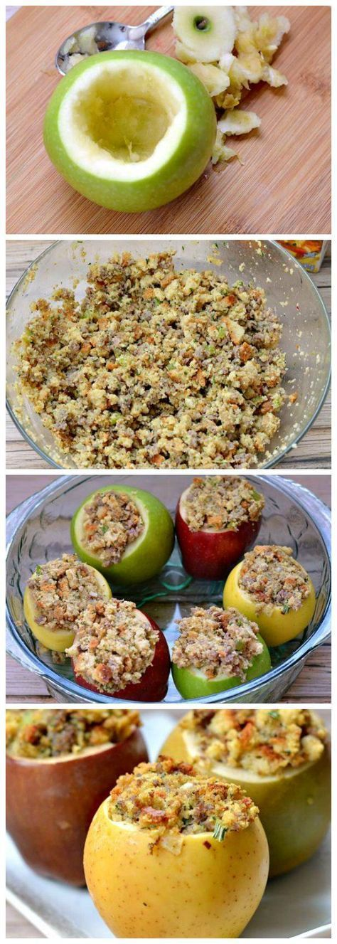 Easy baked apples are made in the oven and stuffed with a sausage stuffing mix. This healthy side dish is perfect for Thanksgiving or with a chicken dinner. Simple to make using the whole apple.