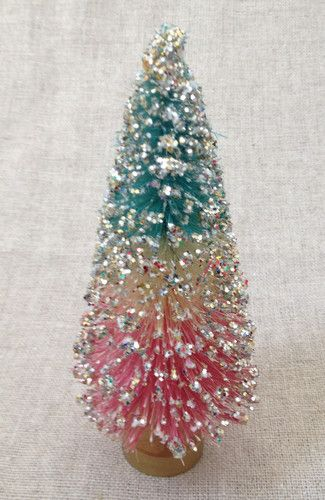 "Very pretty ~ Vintage 6"" TRI COLOR TURQUOISE BLUE, WHITE + PINK Bottle Brush Christmas Tree"