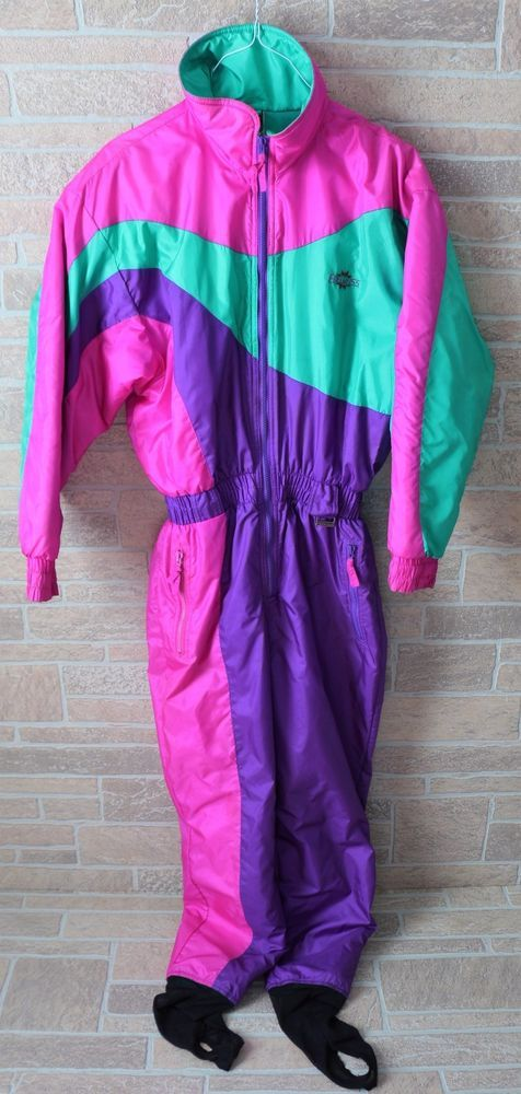 Vtg 80s Retro Ski Snow Suit One Piece Pink Stirrups Romper Edelweiss Womens 12 #Edelweiss