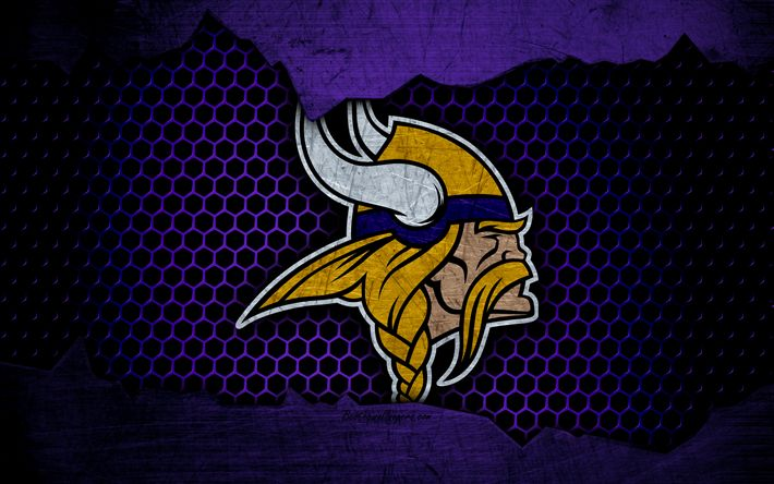 Download wallpapers Minnesota Vikings, 4k, logo, NFL, american football, NFC, USA, grunge, metal texture, North Division https://www.fanprint.com/licenses/minnesota-vikings?ref=5750