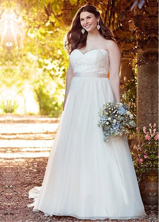 Stunning Lace Organza Sweetheart Neckline A Line Plus Size Wedding Dresses With Belt