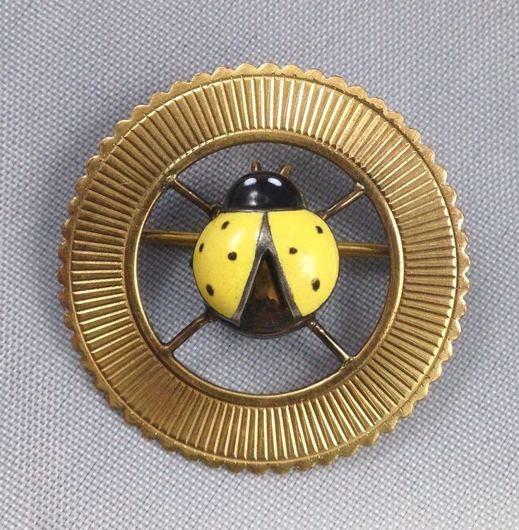 """Vintage Germany 1/40 14K Gold Filled Yellow Ladybug Pin 26mm 1"""" Round Opening Wings Fine L8A 152049 Enameled by AntiqueShack on Etsy"""