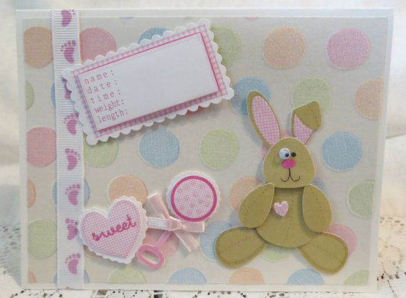 Baby Girl Birth Announcement Handmade Card with by luvncrafts, $3.50