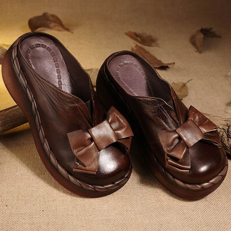 Женские босоножки из натуральной кожи ручной работы с бантом на танкетке теплые дизайнерские босоножки на каблуке, Летняя обувь на высоком каблуке с круглым носком удобные женские туфли без задника