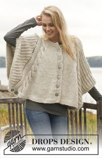 """Dove - Knitted DROPS poncho with cables and textured pattern in """"Nepal"""" and """"Kid-Silk"""". Size: S - XXXL. - Free pattern by DROPS Design"""