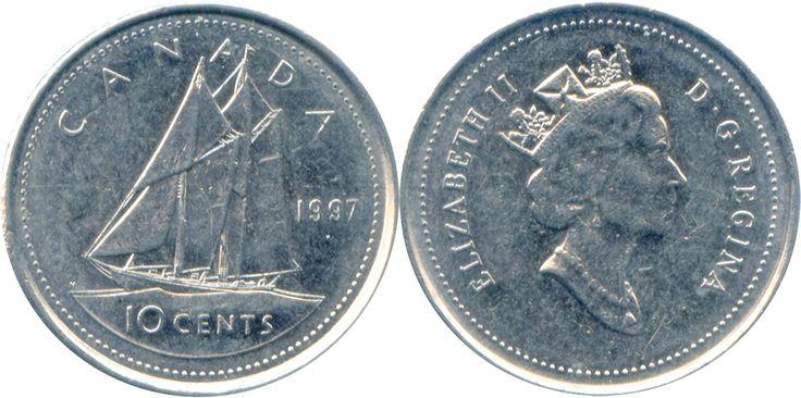 """Dólar canadense (1858-em uso) (x) 10 cents (1999-2003) O: efígie de Elizabeth II (rainha desde 1952) usando a diadema de George IV e seu nome/R: a escuna de corrida chamada """"Blue Nose"""", modelo famoso na província canadense de Nova Escócia, valor e em inglês o nome do país."""