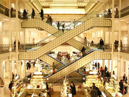 Le Bon Marché, department store designed by Gustave Eiffel. Even if we buy nothing, the photography alone will be worth it.