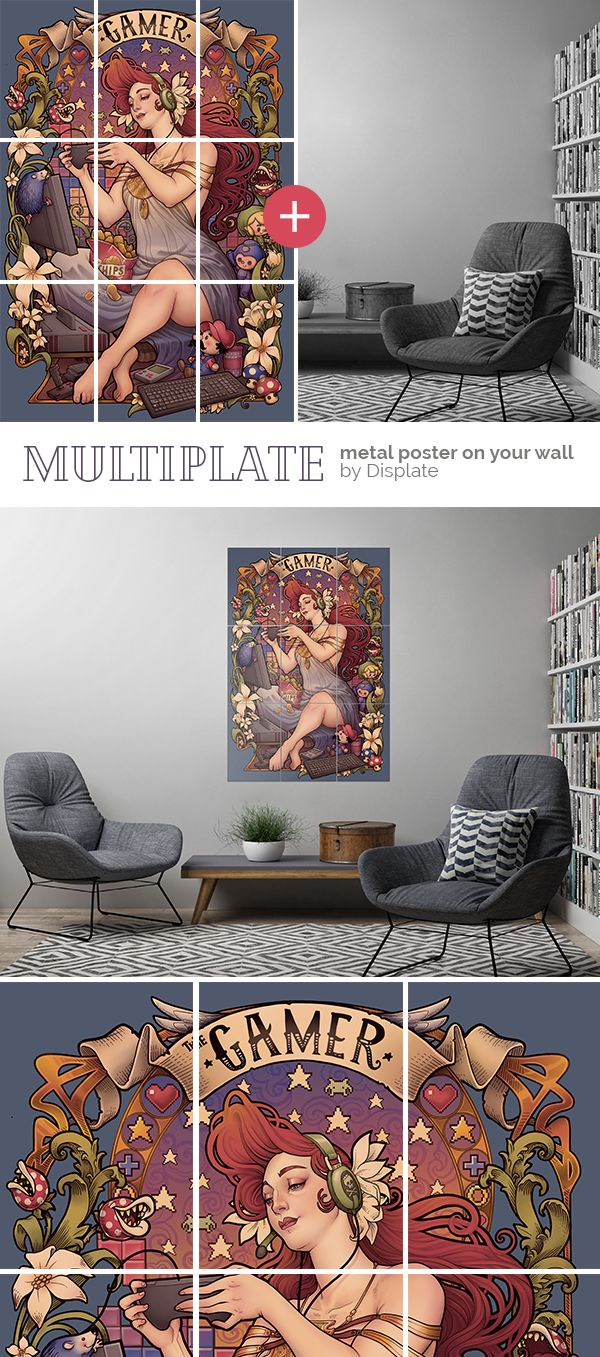 Boring wall? You can give your interior a unique character with this larga size artwork by Medusa Dollmaker. Beautiful 16-piece artprint on thick metal plates mounted with magnets. Click through to see more similar designs on metal! #multiplate