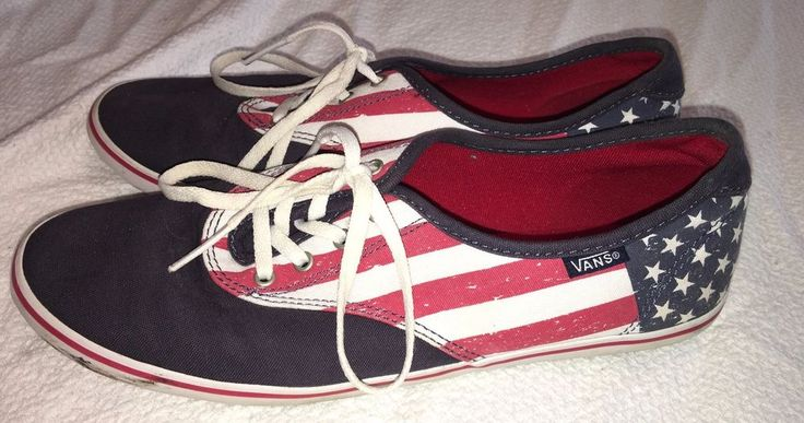 VANS Athletic Shoes Size 9 Ladies American Flag Red White Blue Stars Stripes #VANS #Comfort