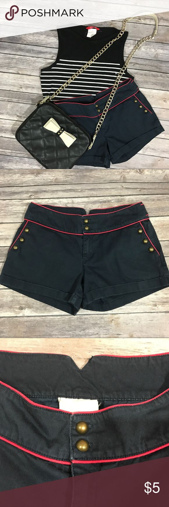 Quicksilver nautical shorts Red and dark blue nautical shorts from quicksilver. No holes or stains minor color fade, overall in great condition. Says size 3 waist measures to 28, material is non stretchy. Quiksilver Shorts