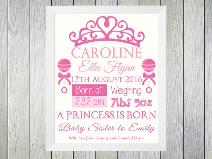 A Princess is Born - Framed Personalised Print to commerate the birth of a baby girl. Personalised with name of baby, date of birth, time of birth and weight at birth. Also a line of text about the baby can be included along with a personalised line from the giver of the gift