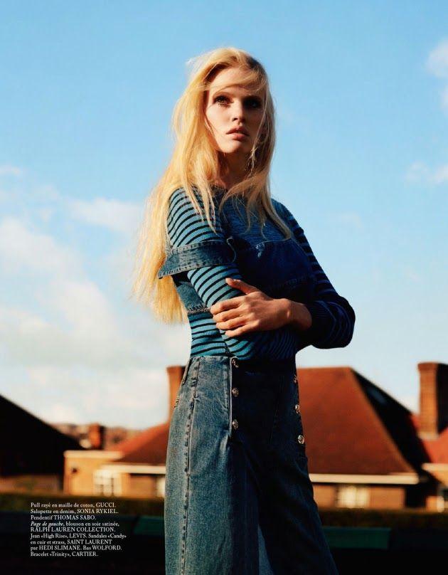 """True Blue"" Lara Stone by Alasdair McLellan for Vogue Paris April 2015"