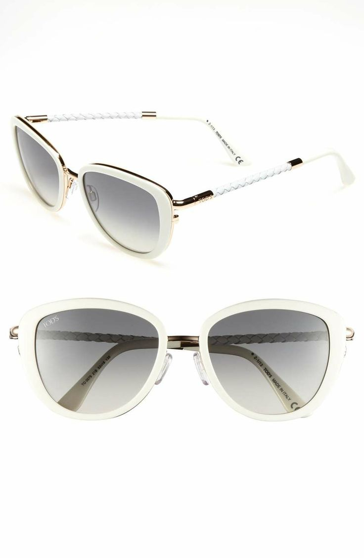 Tod's 53mm Woven Leather Temple Sunglasses on Wantering | Four Eyes | womens white sunglasses #womenssunglasses #womensshades #womenssunnies #womenswear #womensstyle #womensfashion #wantering http://www.wantering.com/womens-clothing-item/tods-53mm-woven-leather-temple-sunglasses/agQop/