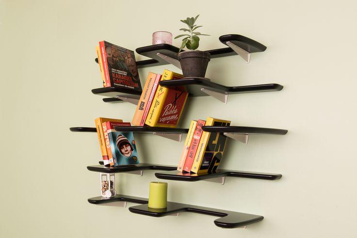 Fleimio Pine Cone (Käpy) black wall shelf in Tuusula 2015.