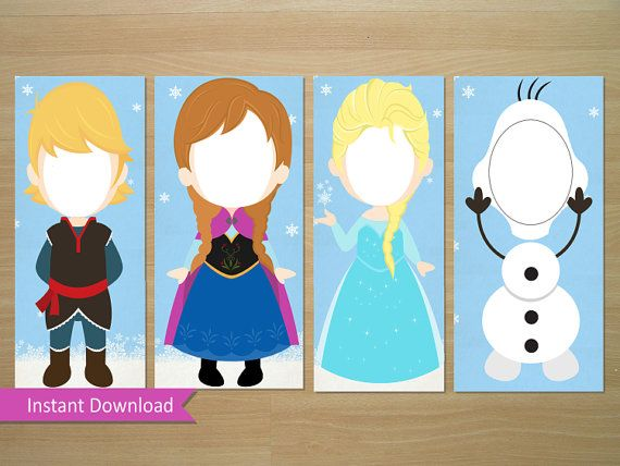 Frozen Photo Booth Prop (Elsa, Anna, Olaf, Kristoff) - Instant Download (Digital File)