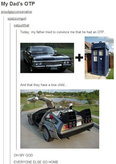 I don't watch spn, but the impala+TARDIS=time traveling Delorean ship is GOLD