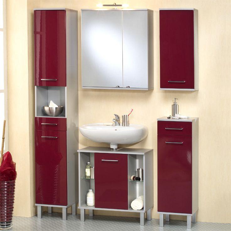 Badezimmer 5 Tlg »ASCO« In Hochglanz Rot   Alufarben Jetzt Bestellen Unter: