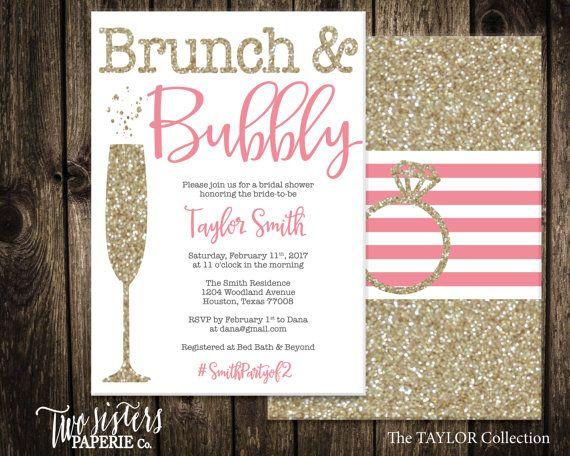 Brunch y burbujeante nupcial ducha invitación - Glitter oro invitación de despedida de soltera - novia Brunch - Brunch & Bubbly - archivo imprimible
