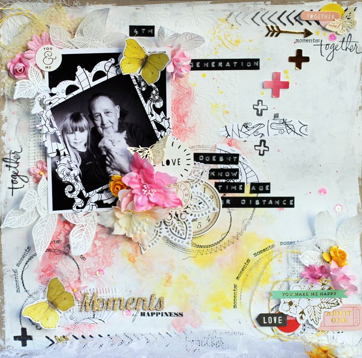 Scrapbook layout 12x12, water colours, mixed media, flowers, butterflies, stamps, pink and yellow, doily
