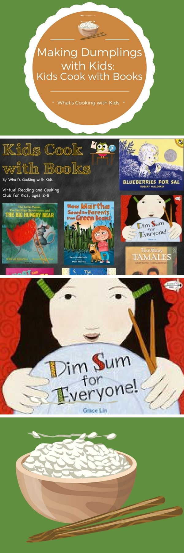 October's feature for Kids Cook with Books is Dim Sum for Everyone.  After you read this book with your kids, make our delicious dumpling recipe together.