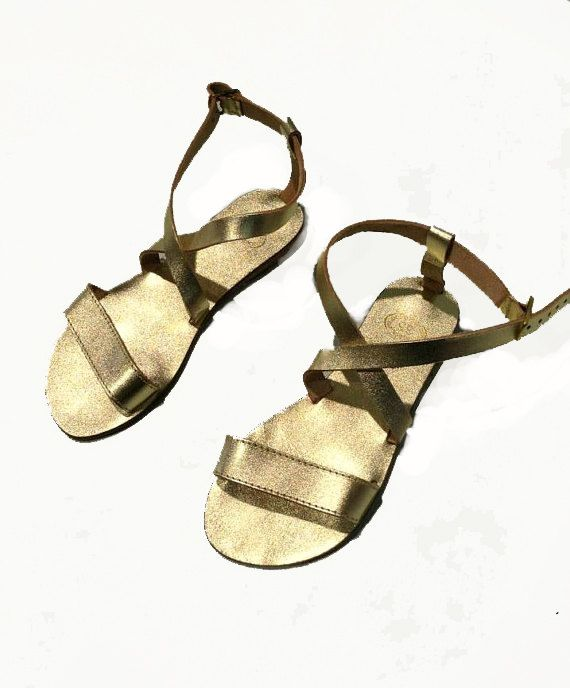 GOLD and SILVER Sandals - Genuine Leather Sandals - Handmade Women's Sandals.