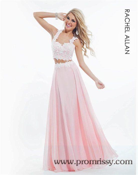 Pink White Two Piece Long Prom Dress 2015 Rachel Allan 6832