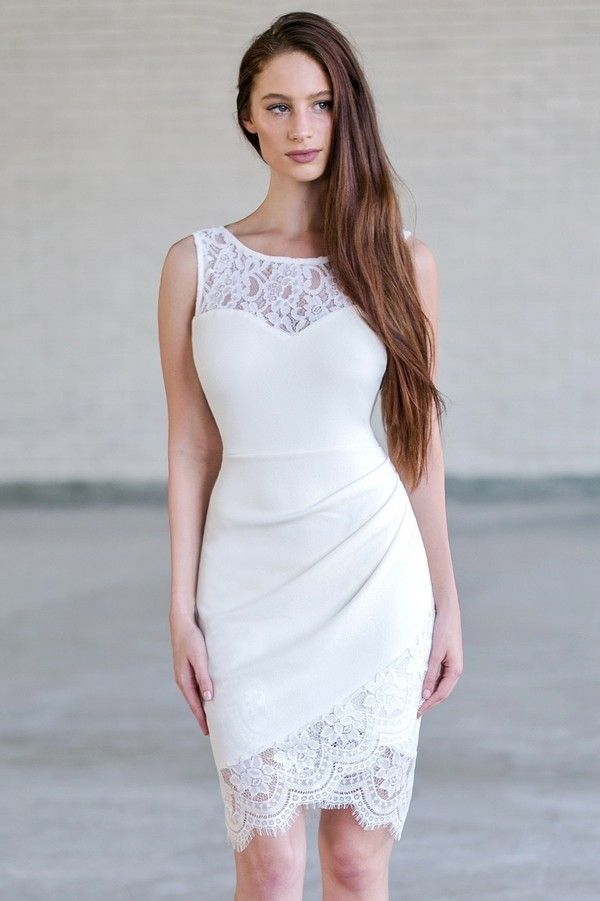 Lily Boutique Lace Trim Pencil Dress with Crossover Hem in Off White, $32 Off White Lace Bodycon Dress, Cute Off White Dress www.lilyboutique.com