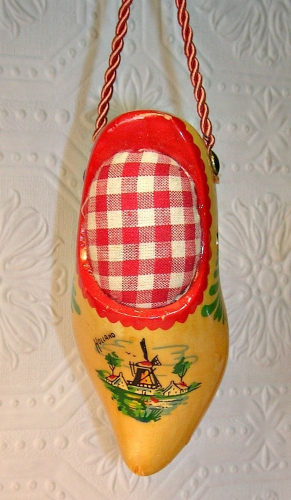 Wooden Shoe Christmas Ornament Holland Windmill Pin Cushion Ornament