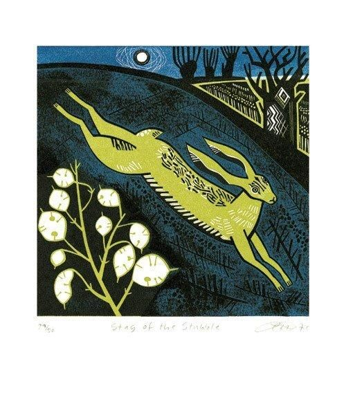'Stag of the Stubble' by British artist Clare Curtis. Linocut, 225 x 225 mm. via the blank card company