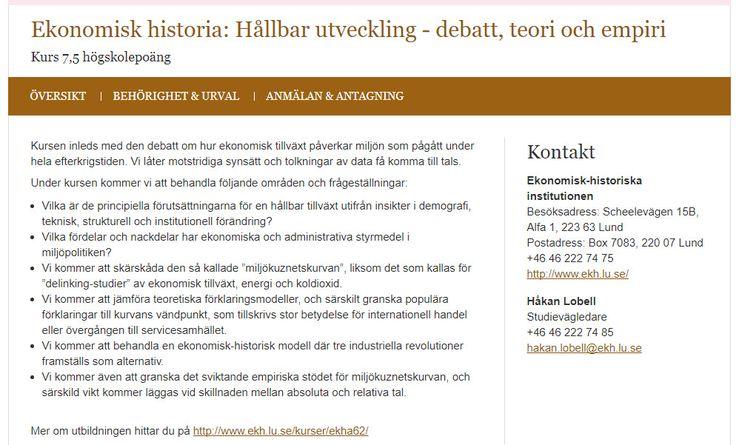 #miljöhistoria del 2 i Lund http://www.lu.se/lubas/i-uoh-lu-EKHA62/20031