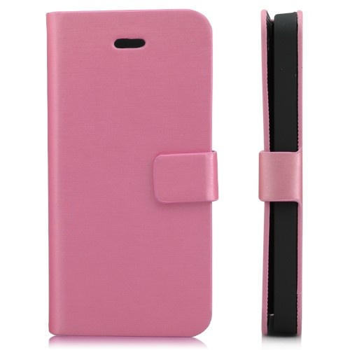 Wallet Shaped Magnetic Satin Material Leather Case  for iPhone 5-Pink