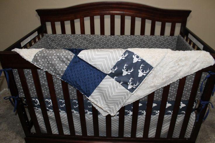 Baby Boy Crib Bedding - Navy Buck, Ecru Chevron, Pebble Weathervanes, and Navy Crib Baby Bedding Ensemble by DesignsbyChristyS on Etsy https://www.etsy.com/listing/261196097/baby-boy-crib-bedding-navy-buck-ecru