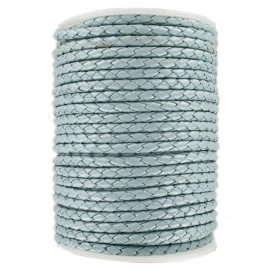 Braided leather cord, 4mm,pearl sky blue, 25 meters