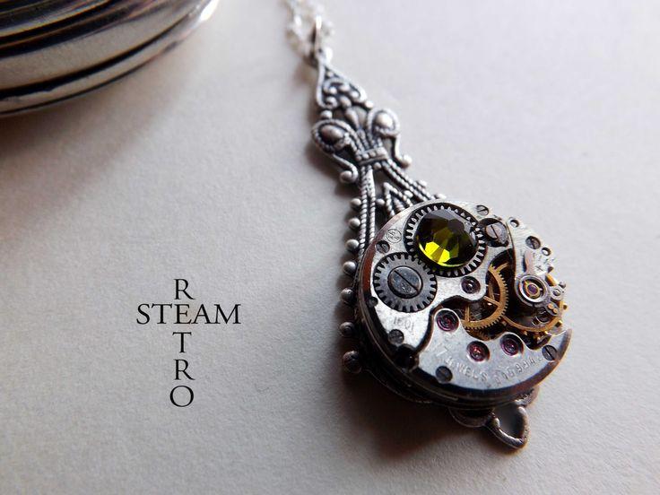 Verde Steampunk pendente della collana - Gioielli Steampunk by Steamretro - gioielli Steampunk : Collane di steamretro-italia
