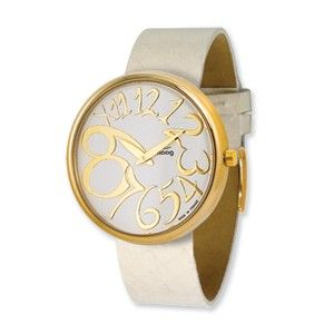 Moog Gold Plated Round White Dial Watch w/(AV-18G) White Band - SalmaWatches.com $209.95