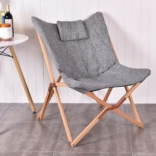 Shop for Costway Folding Butterfly Chair Seat Wood Frame Home Office Furniture Portable Gray. Get free shipping at Overstock.com - Your Online Furniture Outlet Store! Get 5% in rewards with Club O! - 22766913