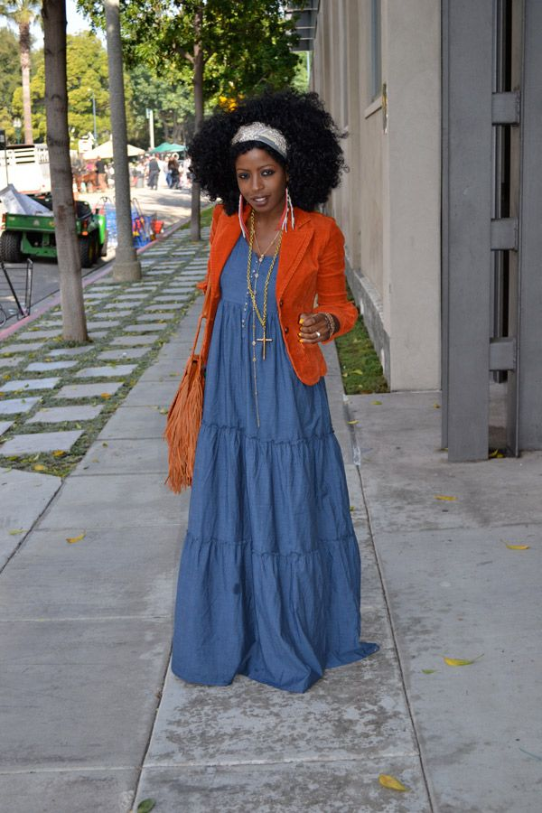 maxi dress & colorful blazer & scarf tied around hair & bangles & necklaces