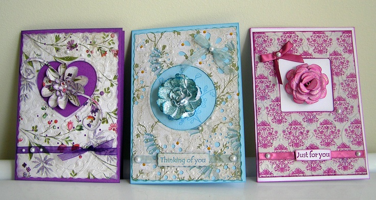My design Vintage Floral cards using the Kaszazz Ezy Press Machine and embossing folders.