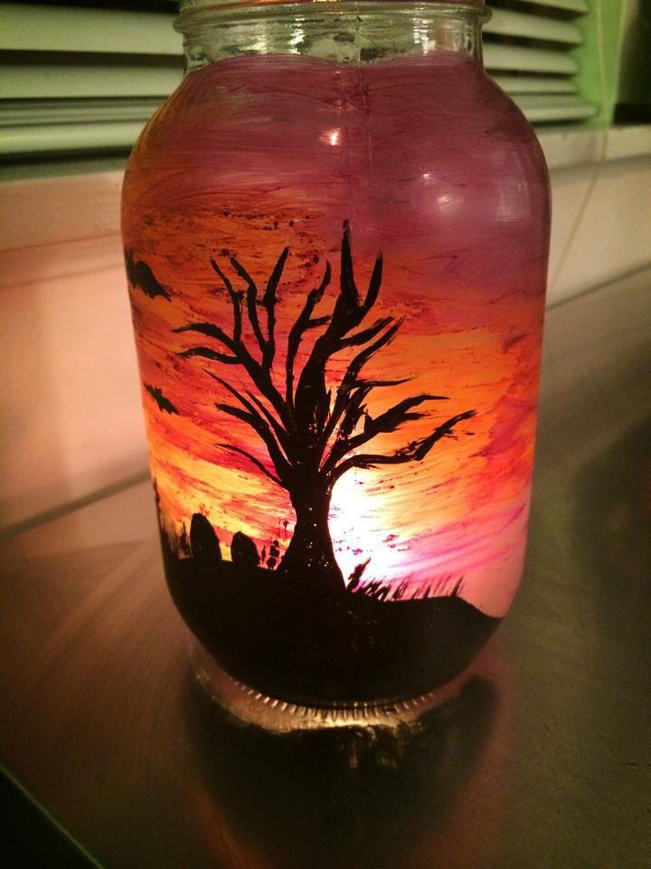 Spooky Halloween Sunset Mason Jar Scene Painted With