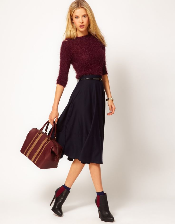 ASOS Midi Skirt In Ponte $30.38 // love this entire look!