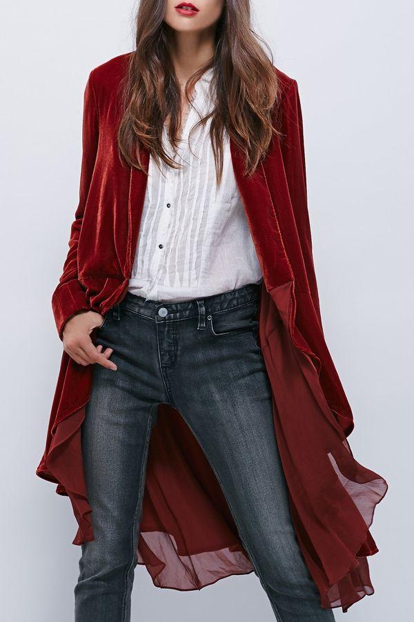 Swingy Velvet Long Sleeve Coat