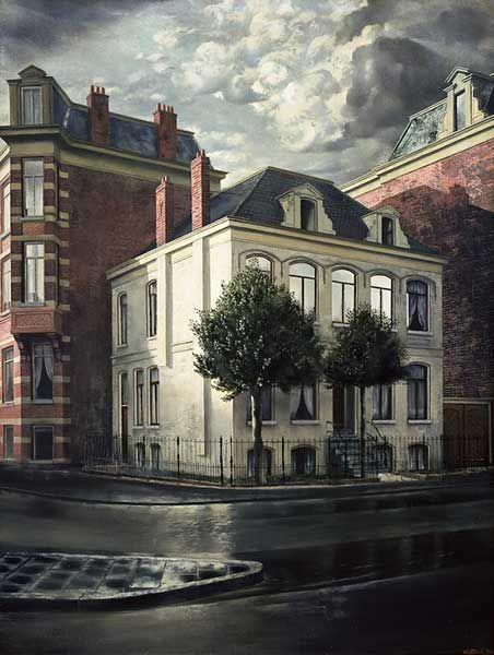 Carel Willink, Huis met twee Hulstboompjes, 1934