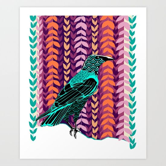 Wild Raven Giclée art print by Kerise Delcoure. This illustration depicts an Australian black raven. The original line drawing was done with pen & ink, with the colours & patterns added digitally to create a bold and playful composition that captures the wild spirit of this clever bird. Available at https://society6.com/kerisedelcoure and https://www.redbubble.com/people/kerisedelcoure.