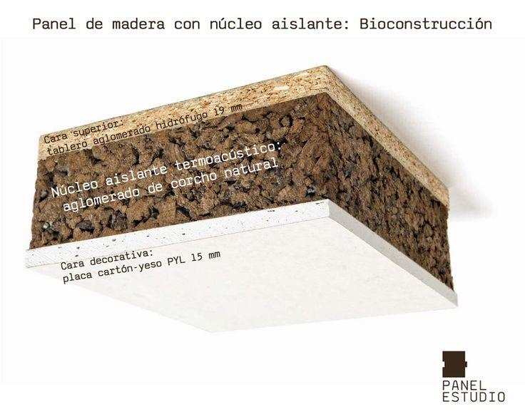 Bioconstrucción y corcho natural. Panel de madera con núcleo aislante termoacústico de aglomerado de corcho natural. Acabado decorativo tablero cartón yeso PYL.