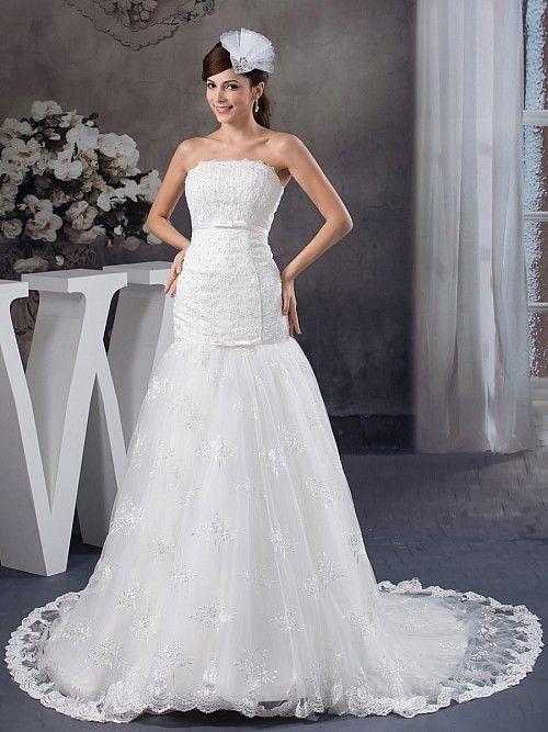 Raena - Русалка Атласная свадебном платье с Отделка бисером