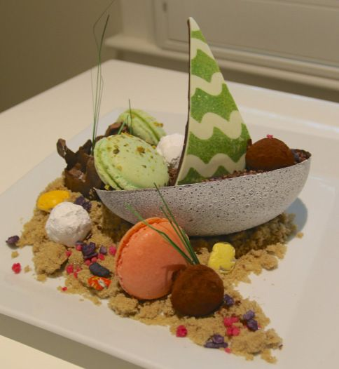 Chocolate and macaron boat at the Chatham Bars Inn on Cape Cod. Great New England summer hotel with spa.