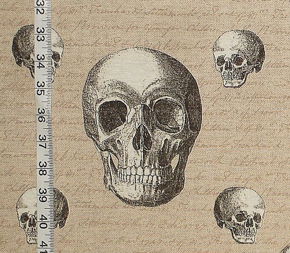 Skull fabric Shakespeare fabric goth fabric by BrickHouseFabrics