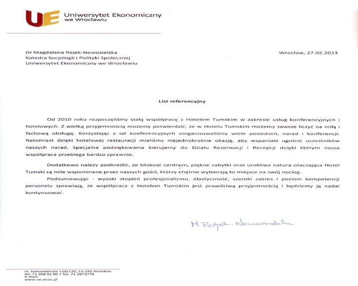 Recommendations of Wrocław University of Economics