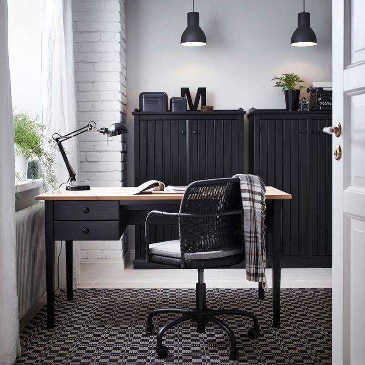 Coin bureau avec bureau et table d 39 appoint arkelstorp en noir et bois e - Fauteuil pivotant ikea ...